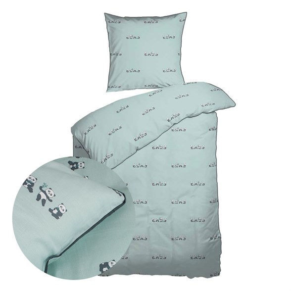 Baby sengetøj 70x100 cm - Økologisk Bomuld - Panda Mint
