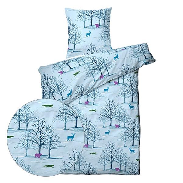 sengetøj 140x200 Køb Sengetøj 140x200   Animal in Forrest Blå   Kvalitets Sengetøj her sengetøj 140x200