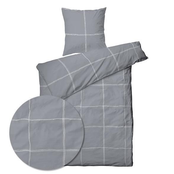 Sengetøj bomuldssatin TC 400 - 140x200 cm - Big check grey