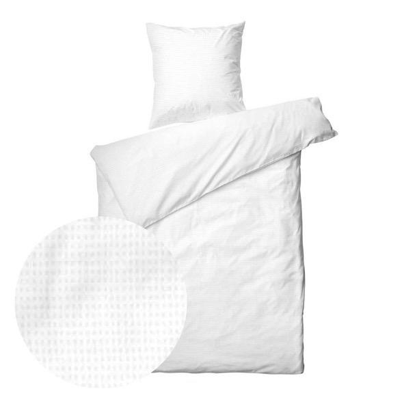 Sengetøj 200x220 cm - Blocks White - Bomuldssatin