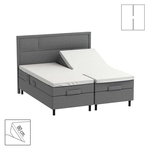 H-Splitlagen / 80 cm split - hvid - Bomuldssatin - 180x200 cm
