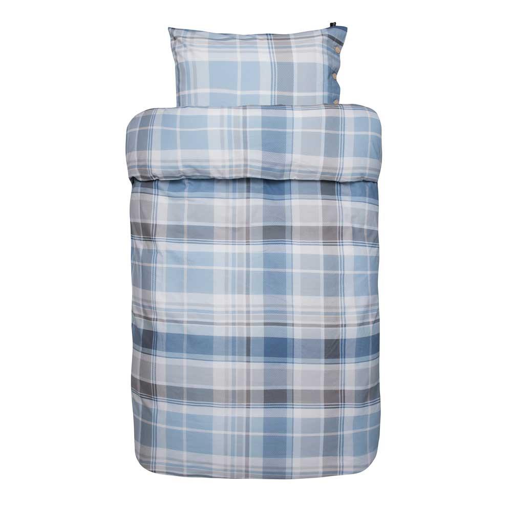 flonel sengetøj Kvalitets flonel Sengetøj 140x220 cm   Høie Tarje blå flonel sengetøj
