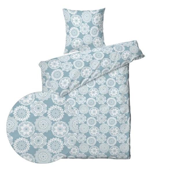 Sengesæt bomuldssatin - 140x220 cm - Lace blue