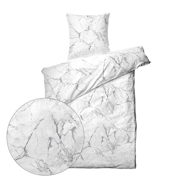 dobbelt dynebetræk Køb Sengetøj 140x200   Marmor Hvid   Kvalitets Sengetøj her dobbelt dynebetræk