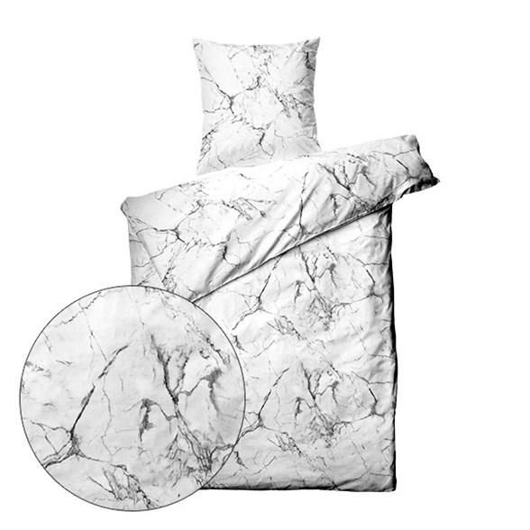 Sengetøj bomuldssatin - 200x220 cm - Marmor Hvid