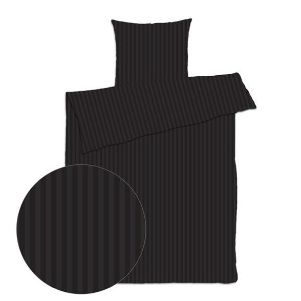 Dobbelt sengetøj 200x220 cm - Satin strib sort - LUNA Denmark