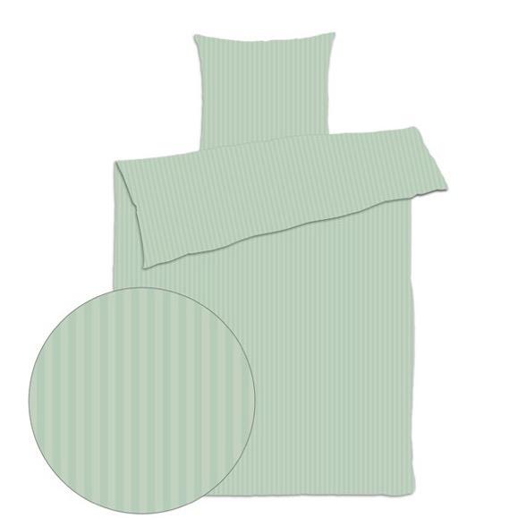 Sengetøj 200x220 cm - smal stribet grøn - Bomuldssatin