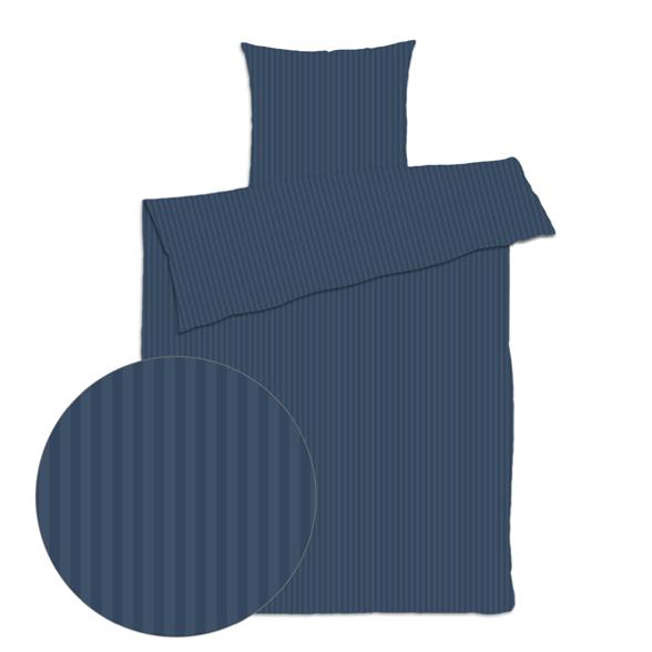 Sengetøj 200x220 cm - smal stribet mørkeblå - Bomuldssatin