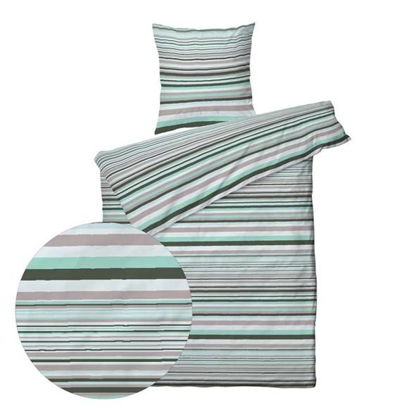 Sengetøj 140x220 cm - Bomuldssatin - Stripe Dust